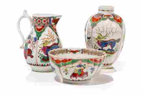 THREE PIECES OF DRAGON IN COMPARTMENT PORCELAIN