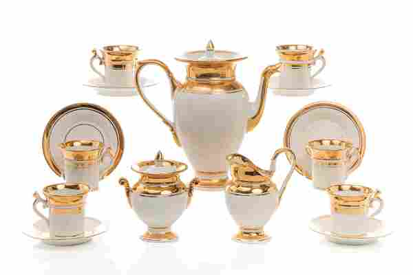 NINE PC FRENCH EMPIRE PORCELAIN COFFEE SERVICE