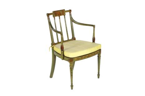 REGENCY MAHOGANY PAINTED OCCASIONAL ARM CHAIR