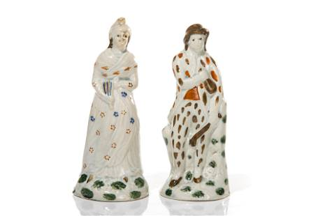 TWO EARLY STAFFORDSHIRE PEARLWARE FIGURES