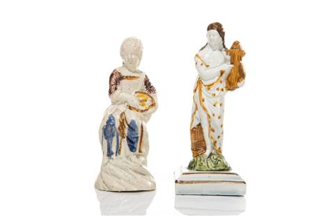 TWO EARLY STAFFORDSHIRE / PEARLWARE FIGURES