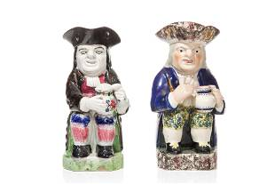 TWO 19TH C STAFFORDSHIRE FIGURAL TOBY JUGS