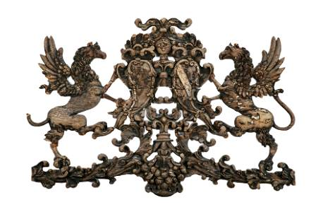 LATE 18th C CARVED WALNUT ARMORIAL