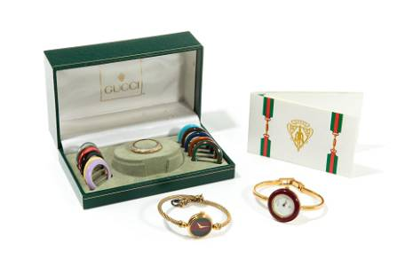 TWO 1980's GUCCI WATCHES WITH CHANGEABLE BEZELS
