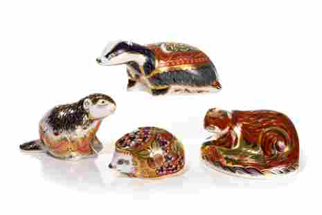FOUR ROYAL CROWN DERBY PORCELAIN PAPERWEIGHTS
