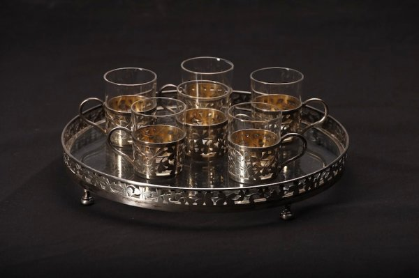 1023: FRENCH SILVER AND GLASS TEA CUP SET & TRAY