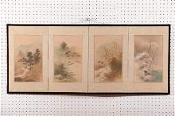 1179: FOUR PANEL JAPANESE TABLE TOP FOLDING SCREEN