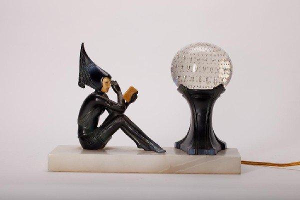 2002: ART DECO WHITE METAL FIGURAL LAMP