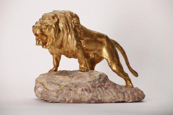 2004: PROSPER LECOURTIER (1855 -1924) GILT BRONZE LION