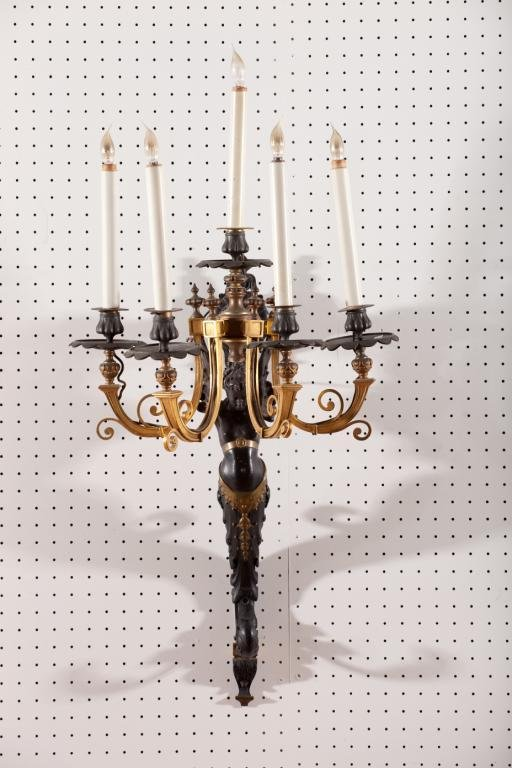 2006: FRENCH EMPIRE BRONZE 5-LIGHT FIGURAL WALL SCONCE