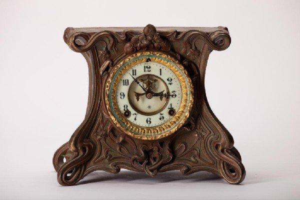 2011: ANSONIA ART NOUVEAU CAST METAL MANTLE CLOCK