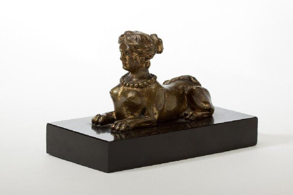 2019: GILT BRONZE FEMALE SPHINX ON A MARBLE BASE