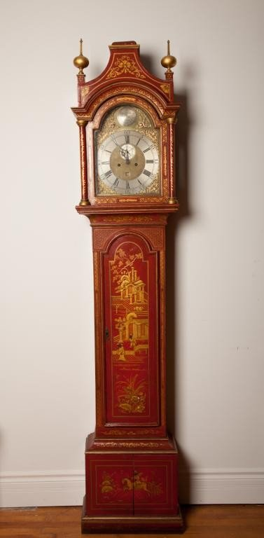 2104: GEORGIAN RED LACQUER LONGCASE CLOCK