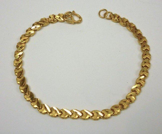 1003: CHINESE YELLOW GOLD FLAT LINK BRACELET