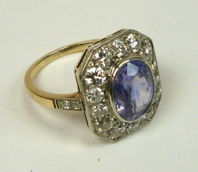 1005: VINTAGE AUSTRIAN SAPPHIRE AND DIAMOND RING