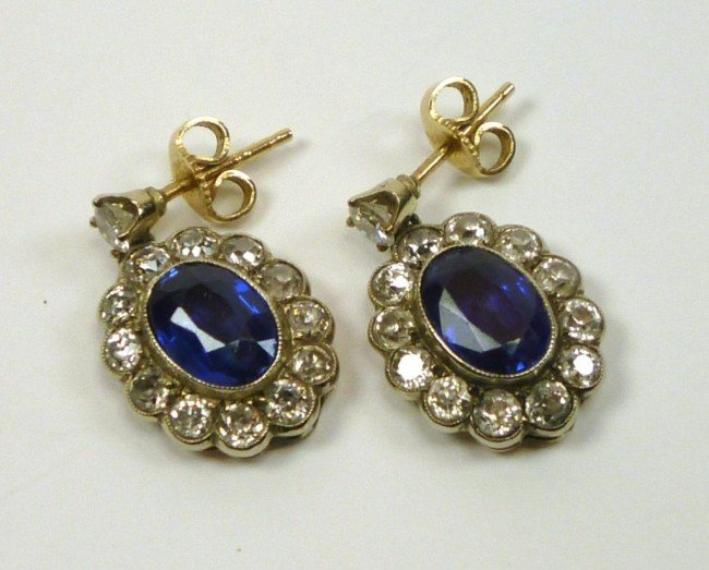 1006: PAIR OF VINTAGE SAPPHIRE AND DIAMOND DROP EARRING