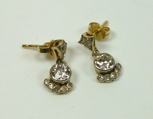 1008: VINTAGE GOLD AND DIAMOND  EARRINGS