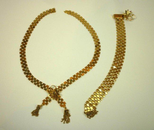 1010: GOLD FLAT LINK  BRACELET AND NECKLACE