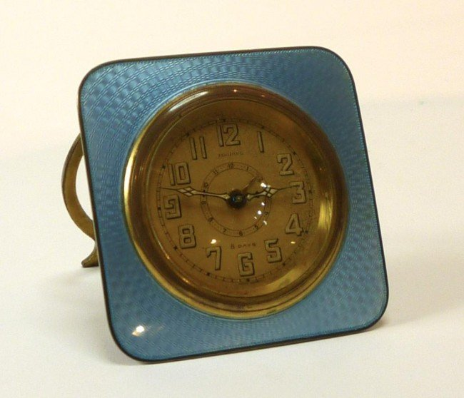 1048: SWISS SILVER AND ENAMEL CLOCK LOOPING