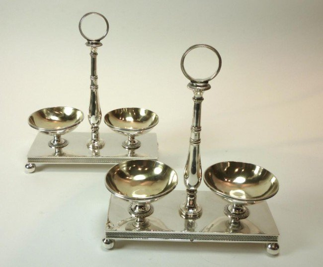1051: FRENCH EMPIRE SILVER DOUBLE SALT DISHES