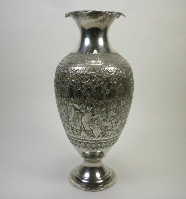 1055: FINE PERSIAN DECORATED SILVER VASE