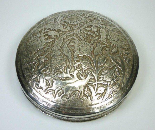 1058: FINE PERSIAN SILVER CIRCULAR BOX