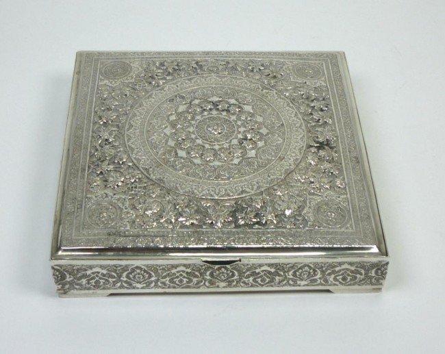 1061: PERSIAN SILVER SQUARE BOX
