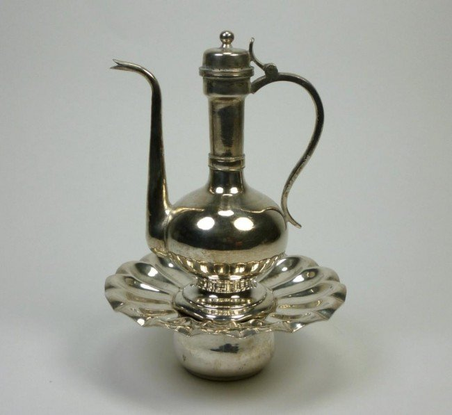 1062: PERSIAN SILVER ROSE WATER EWER WITH STAND
