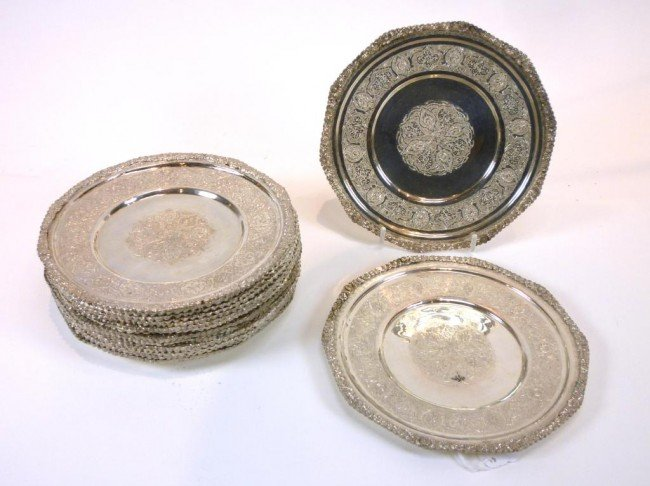 1063: SET PERSIAN SILVER SMALL DISHES