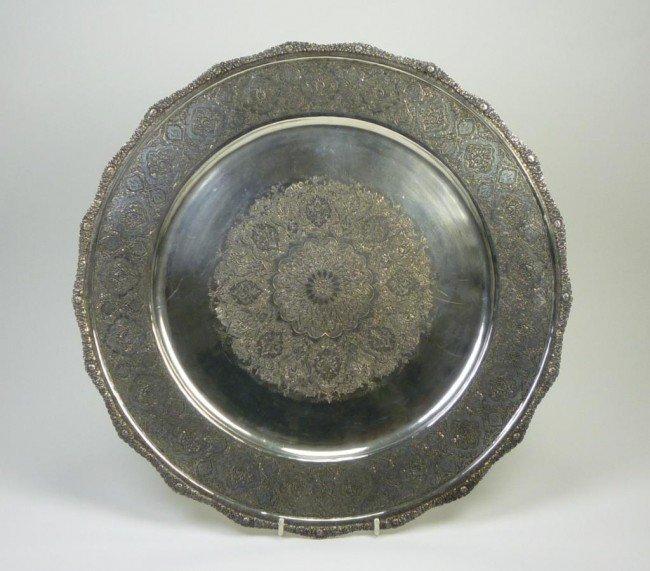 1066: LARGE PERSIAN SILVER SALVER