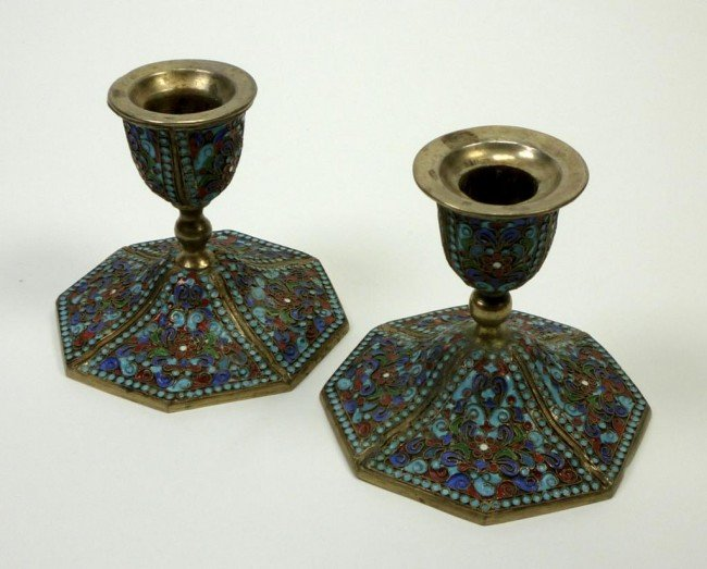 1071: FINE PERSIAN SILVER GILT AND ENAMEL CANDLESTICKS