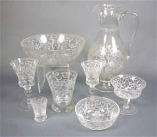 1117: 19TH CENTURY LOBMEYR CUT & ETCHED GLASS STEMWARE