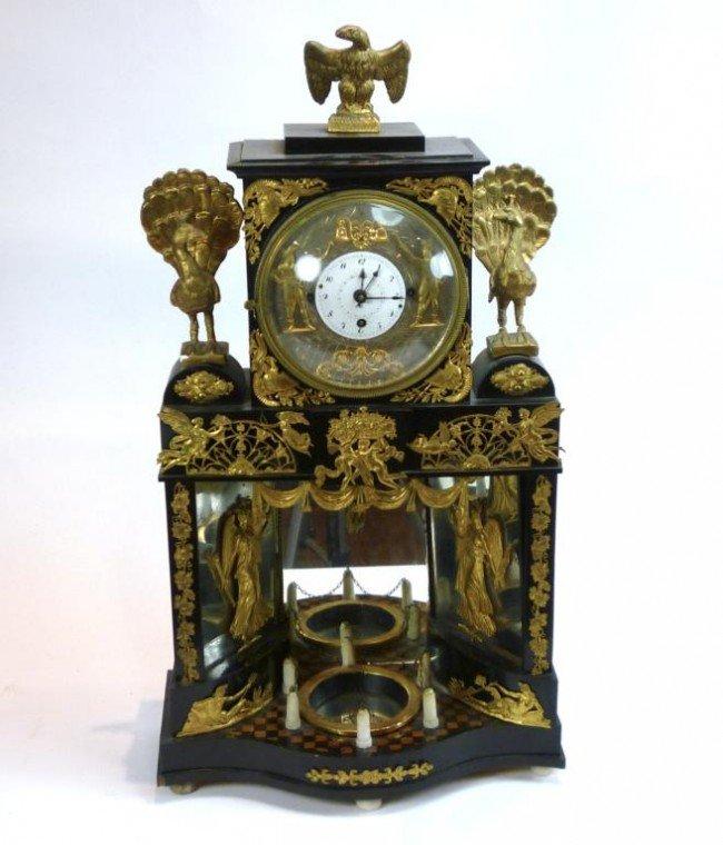 1163: AUSTRIAN BIEDERMEIER LACQUER AUTOMATON CLOCK