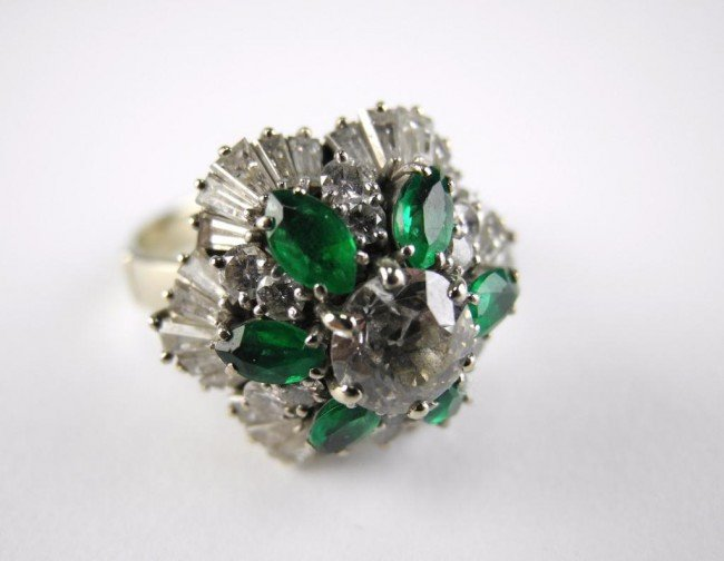 1012: EMERALD AND DIAMOND COCKTAIL CLUSTER RING