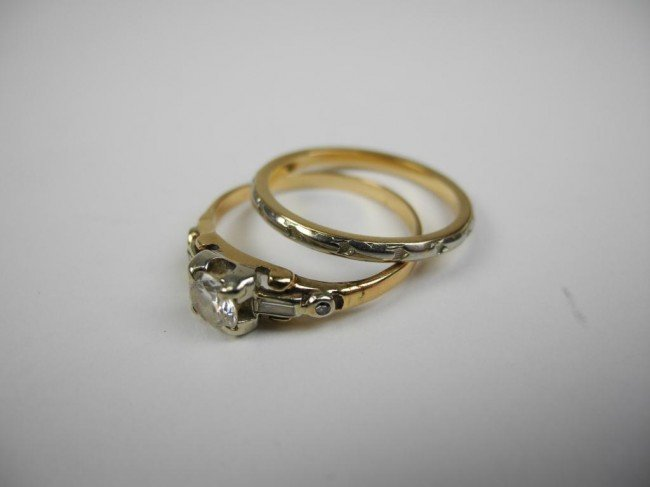 1015: BIRKS GOLD DIAMOND SOLITAIR RING & BAND