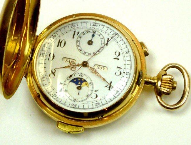 1023: FINE SWISS 18K GOLD REPEATER POCKET WATCH