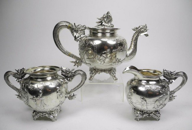 1092: FINE CHINESE EXPORT SILVER TEA SET DRAGON