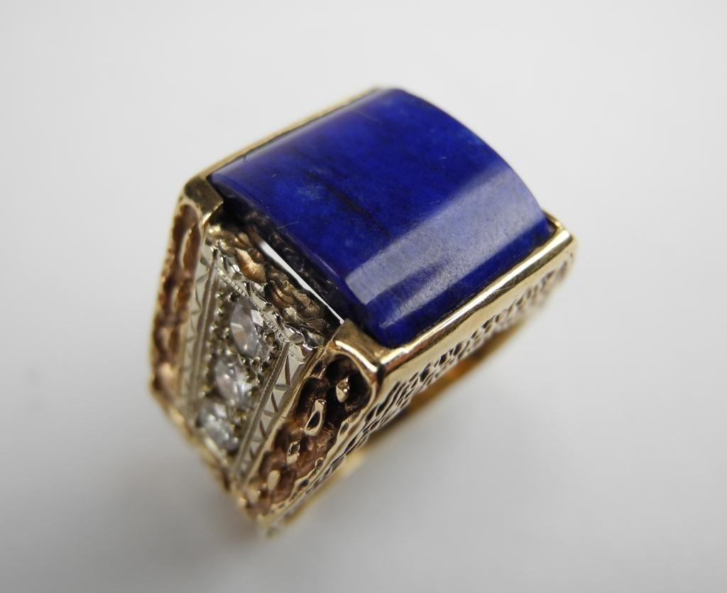 1017: GOLD LAPIS & DIAMOND MEN'S RING - 2