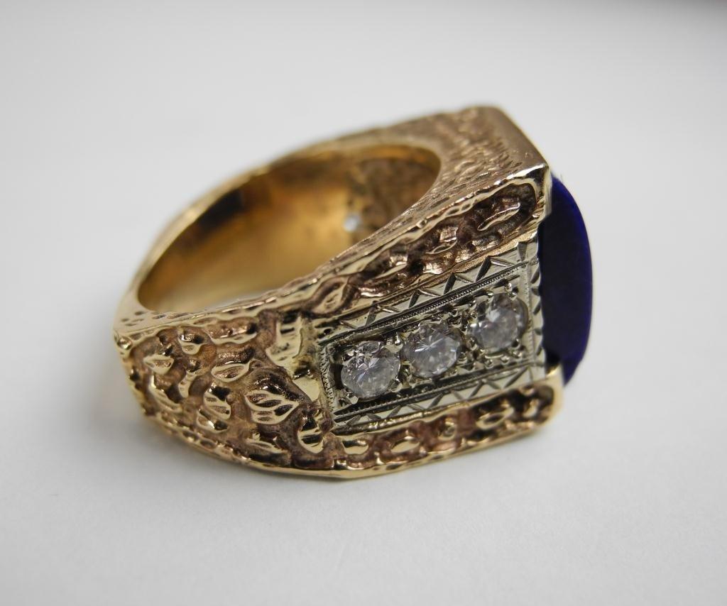 1017: GOLD LAPIS & DIAMOND MEN'S RING - 3