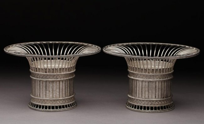 1052: FINE PAIR OF PAUL STORR ENGLISH SILVER BASKETS