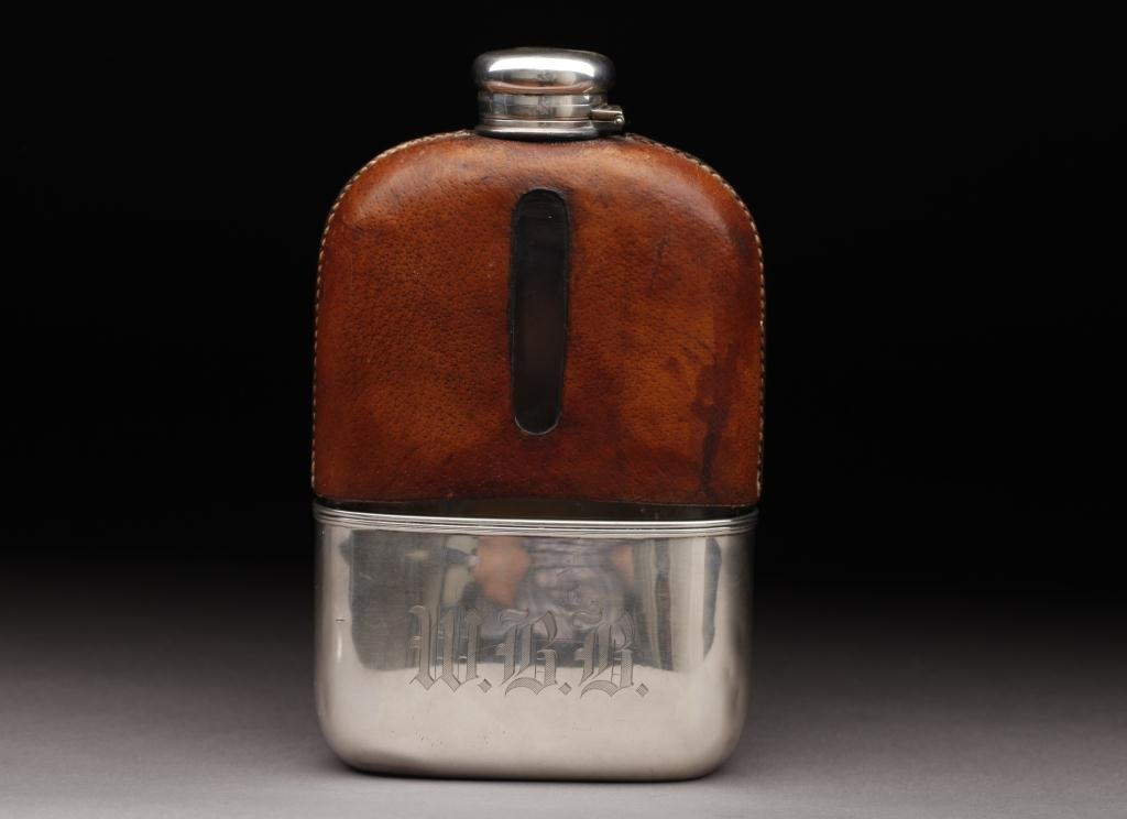 1088: TIFFANY & CO. SILVER, GLASS & LEATHER FLASK