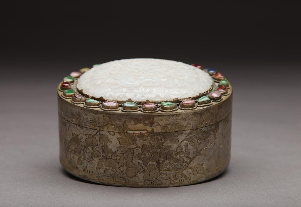 1172: CHINESE GILT METAL BOX WITH JADE PLAQUE