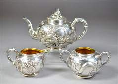 1110A FINE CHINESE EXPORT SILVER DRAGON TEASET