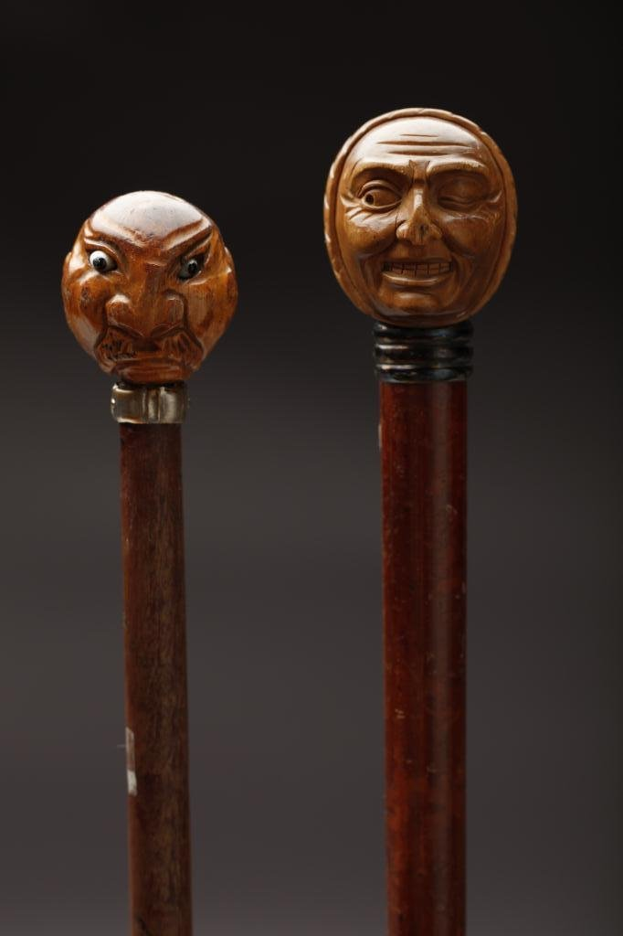 2015: TWO FOLK ART CARVED WOOD WALKING STICKS