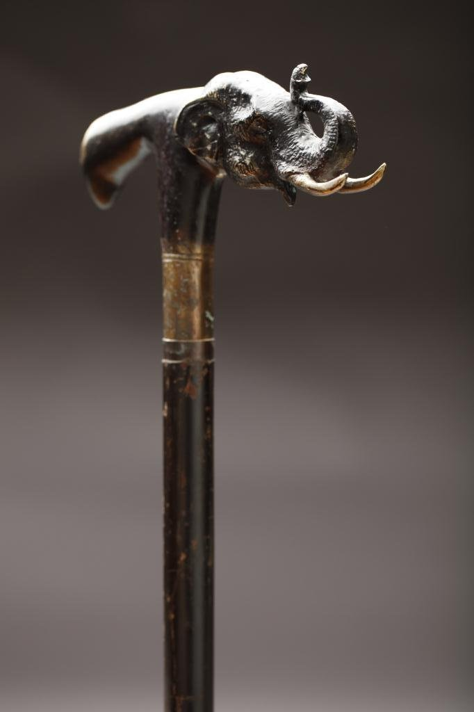 2023: BRONZE ELEPHANT HANDLE WALKING STICK