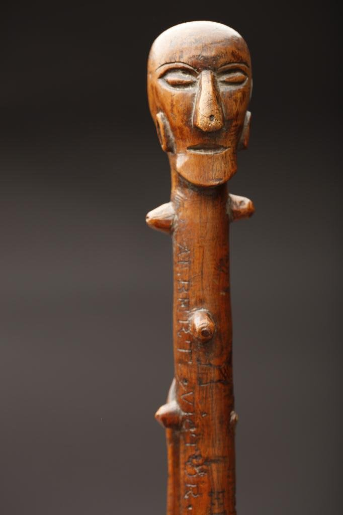 2049: ENGLISH ROYAL FOLK ART CARVED WOOD CANE