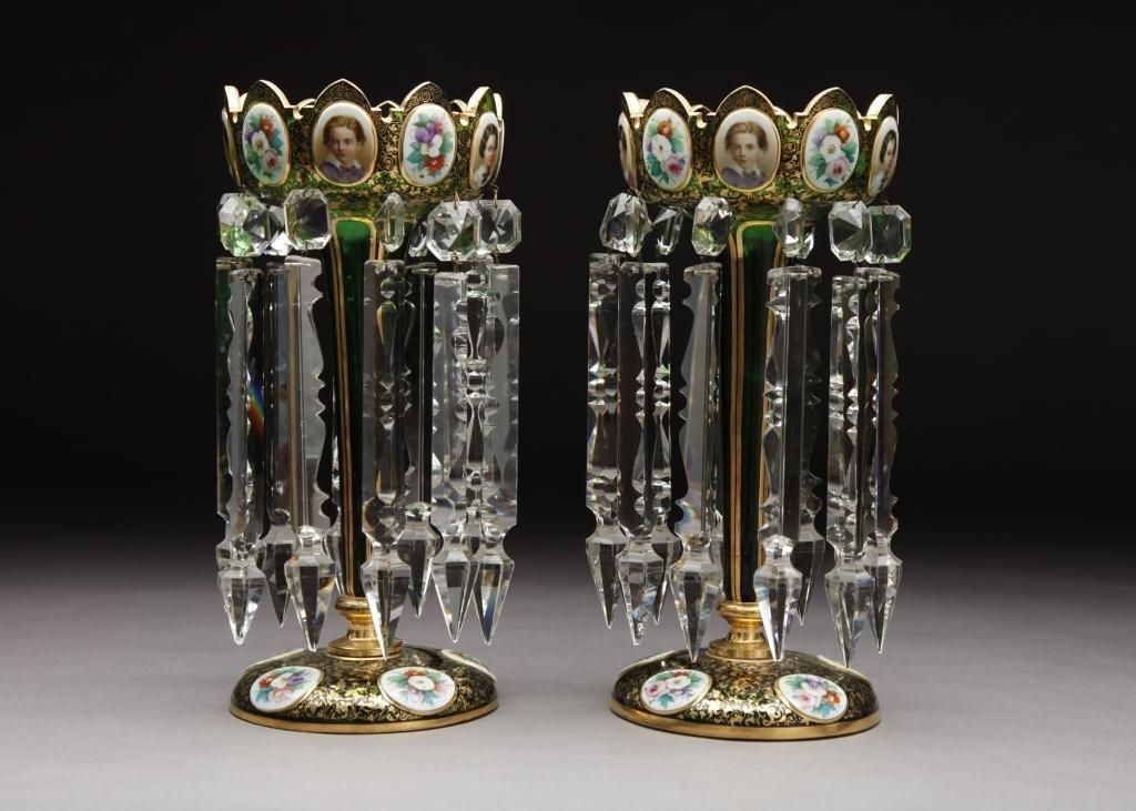 3060: PAIR OF BOHEMIAN GLASS LUSTRES