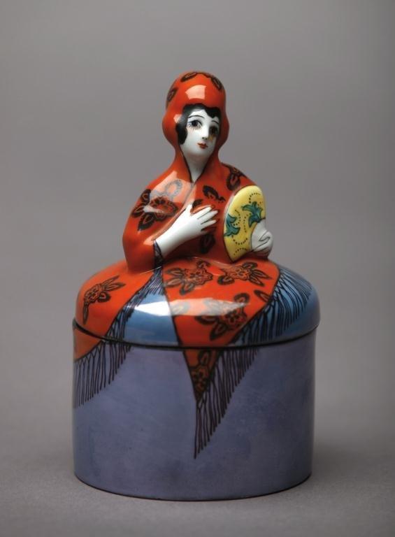 1007: NORITAKE FIGURAL DRESSER JAR