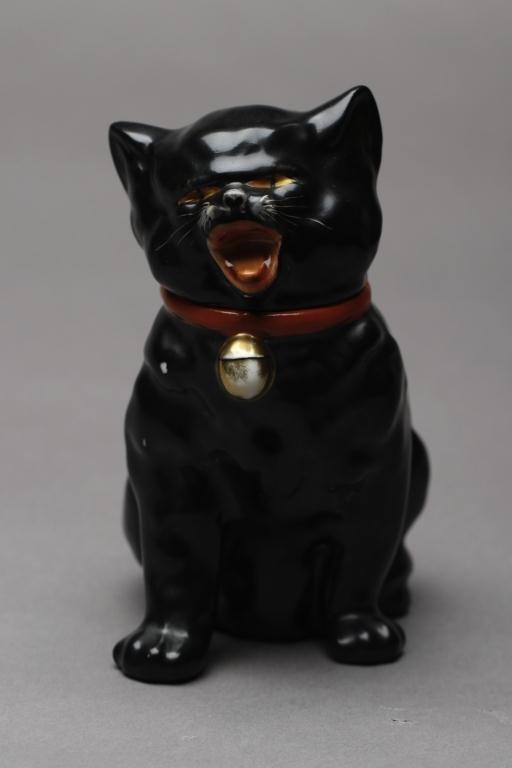 1019: NORITAKE RARE BLACK CAT FIGURAL JAR