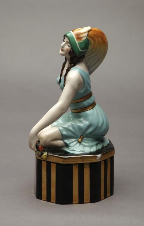 1105: RARE NORITAKE INDIAN MAIDEN DRESSER JAR